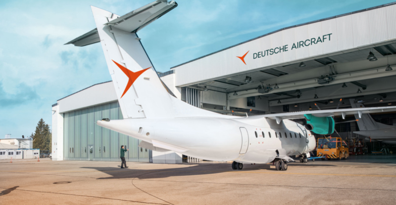 Deutsche Aircraft's regional aircraft in the hanger.