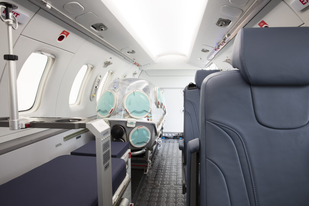 Inside the PC-24's spacious cabin there is space for the EpiShuttle, an aisle and seats for medical personnel.