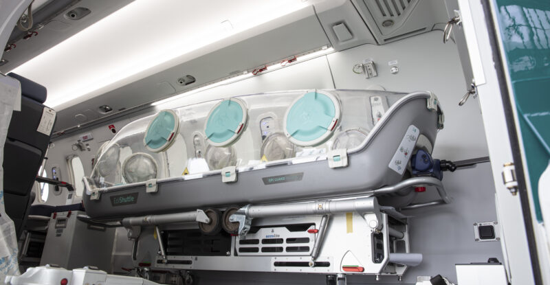 A PC-24 aircraft with a medical isolation unit called EpiShuttle onboard.
