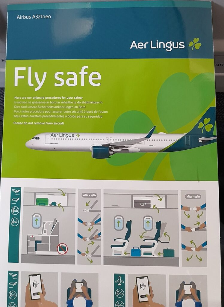 Safety card for the Aer Lingus A321neo