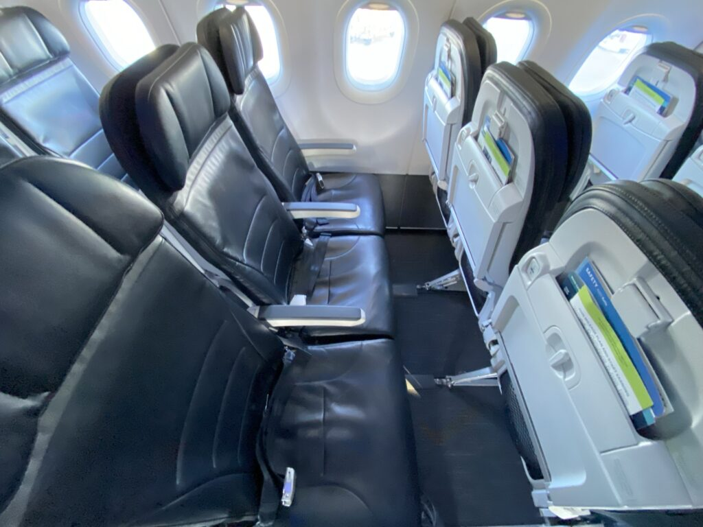 Economy class seating on Alaska Airlines A321neo