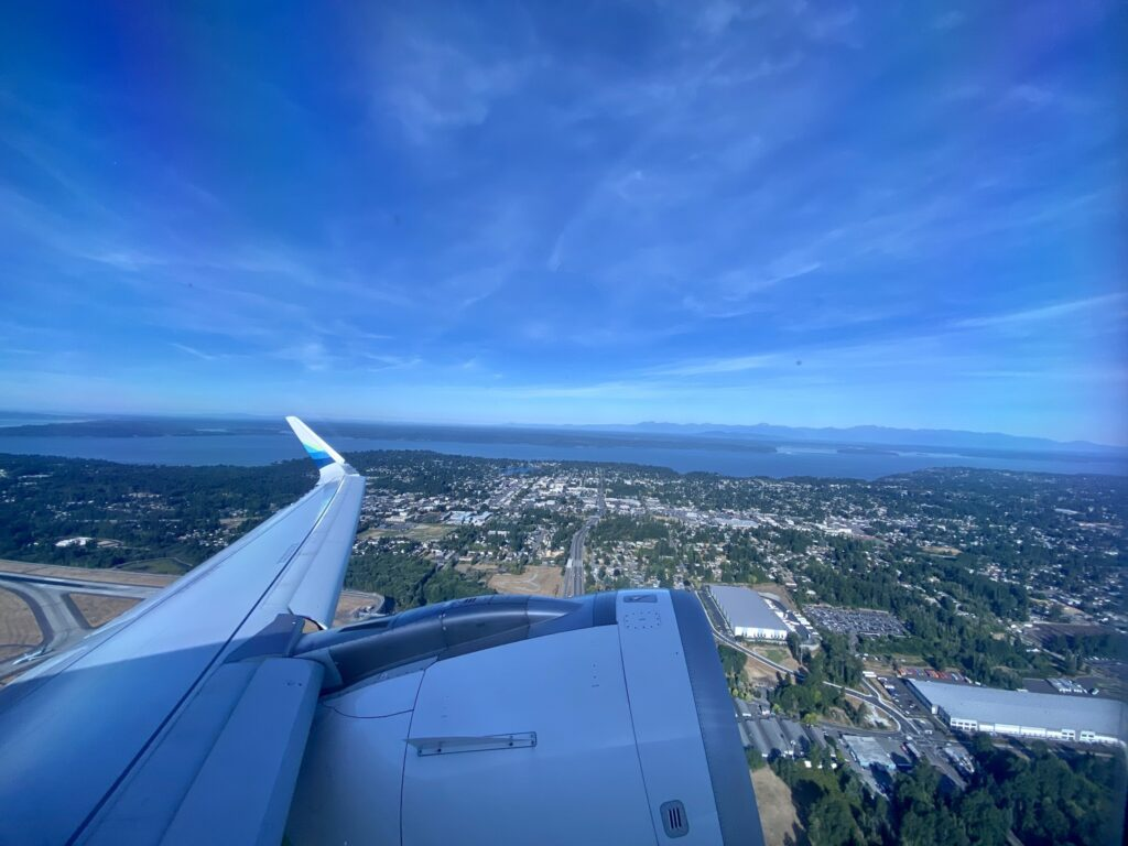 Takeoff from SeaTac on a beautifully sunny and clear day.