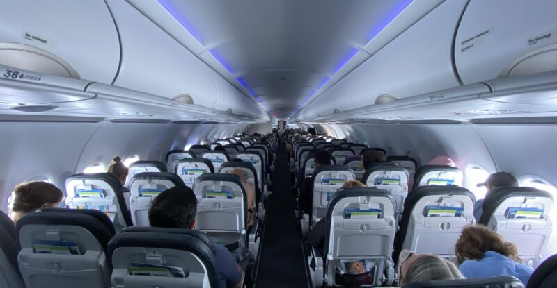 Interior of Alaska Airlines' A321neo with passengers onboard.