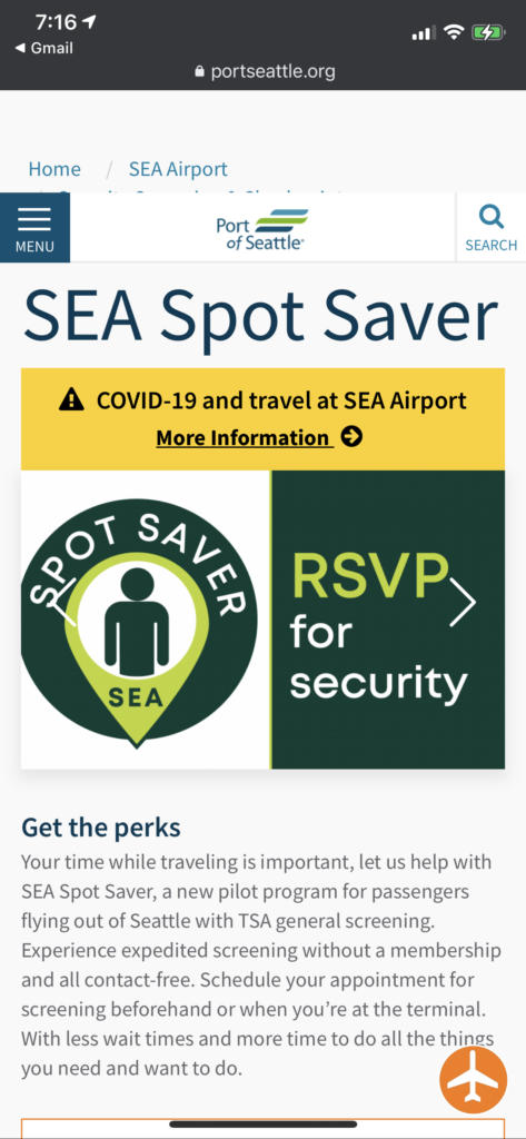 """Screenshot of the email for SEA Spot Saver, which prompts passengers to """"RSVP for security"""""""