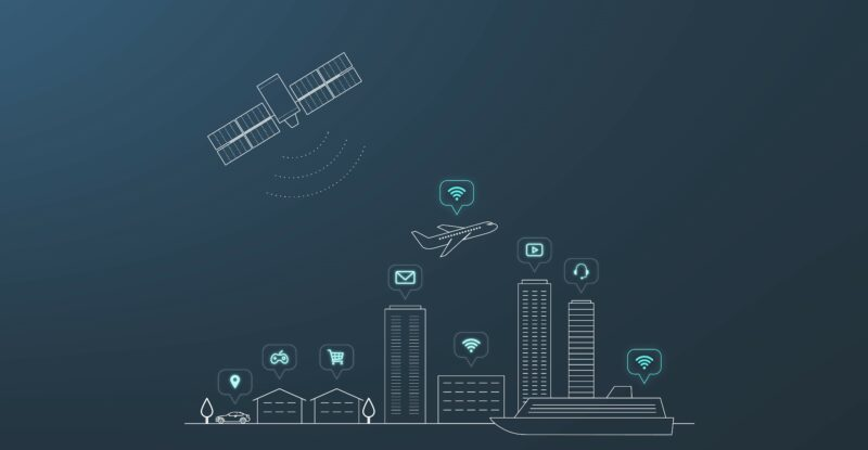 A graphic showing city buildings with an aircraft and satellite in the sky. Anuvu
