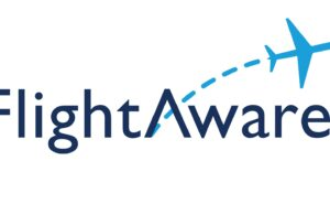 FlightAware Logo with a small blue aircraft flying away from the letter A.
