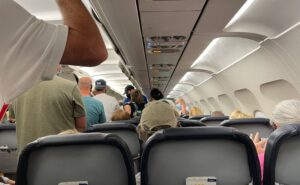 Passengers deplaning a commercial A320 aircraft
