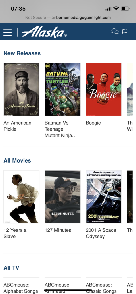 Alaska Airlines movies available for streaming.