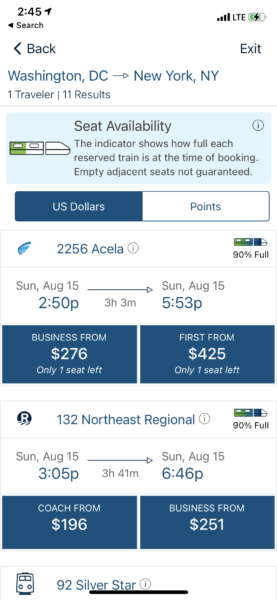 Screenshot of the Amtrak booking app. Displaying different travel choice options and train capacity at time of booking.