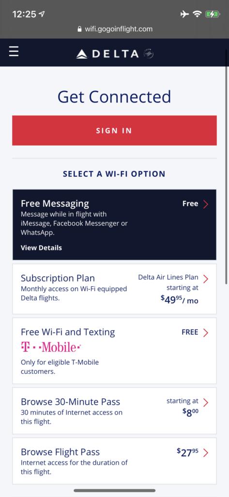 Screenshot of Delta's inflight Wi-Fi plans with Intelsat.