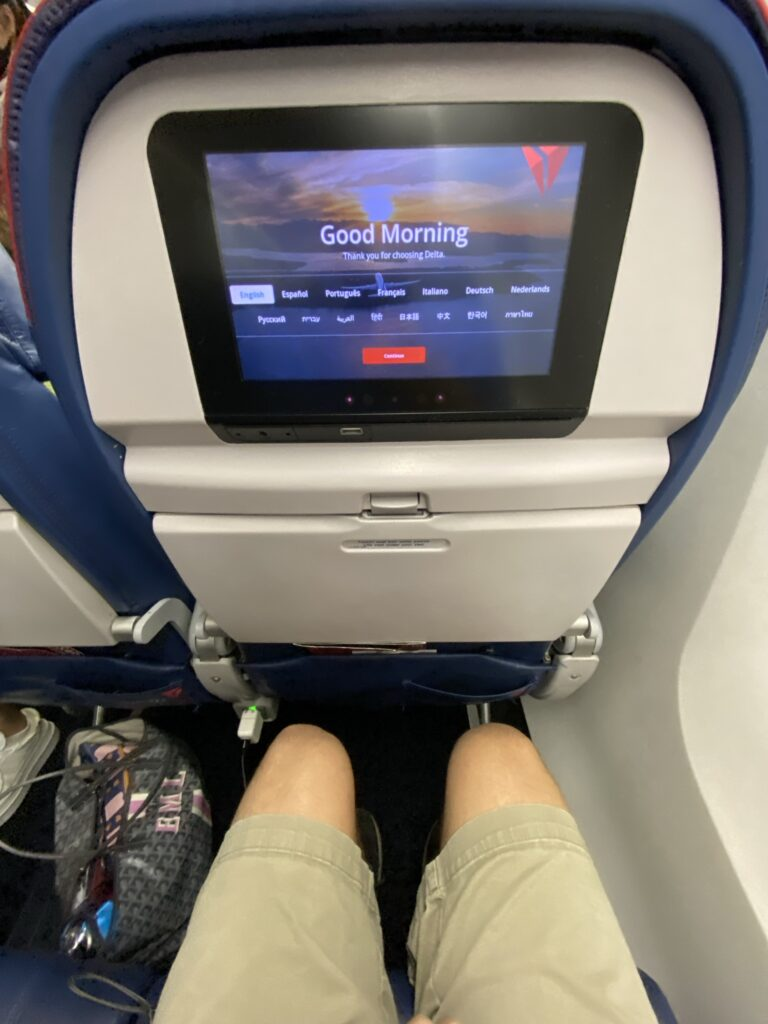 Delta Air Lines 767 Economy class seat and seatback IFE.