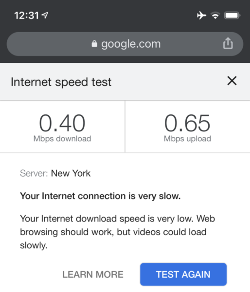 Wi-Fi test screenshot showing .40 Mbps download speed