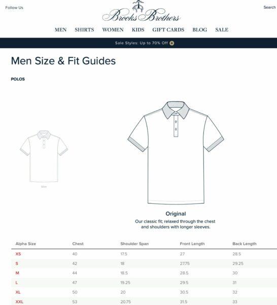 Brooks Brothers 'polo shirt sizing chart.