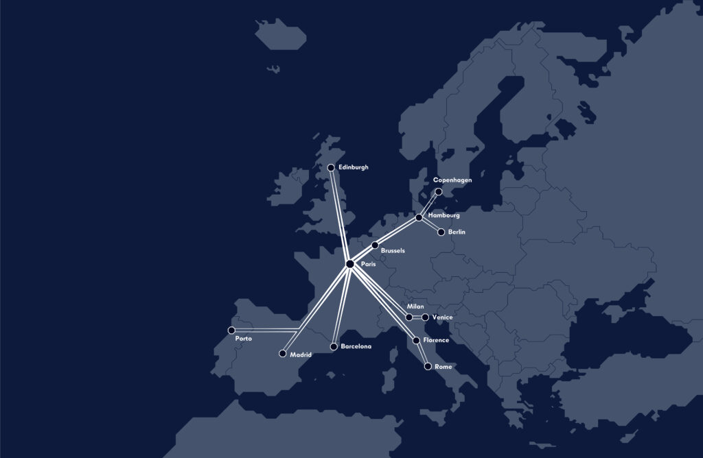 A map of Europe showing the planned Midnight Trains' routes out of Paris.