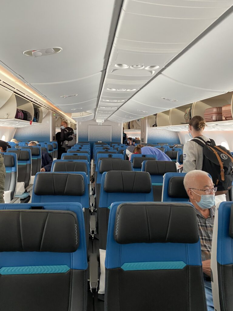 WestJet Boeing 787-9 interior as passengers board.