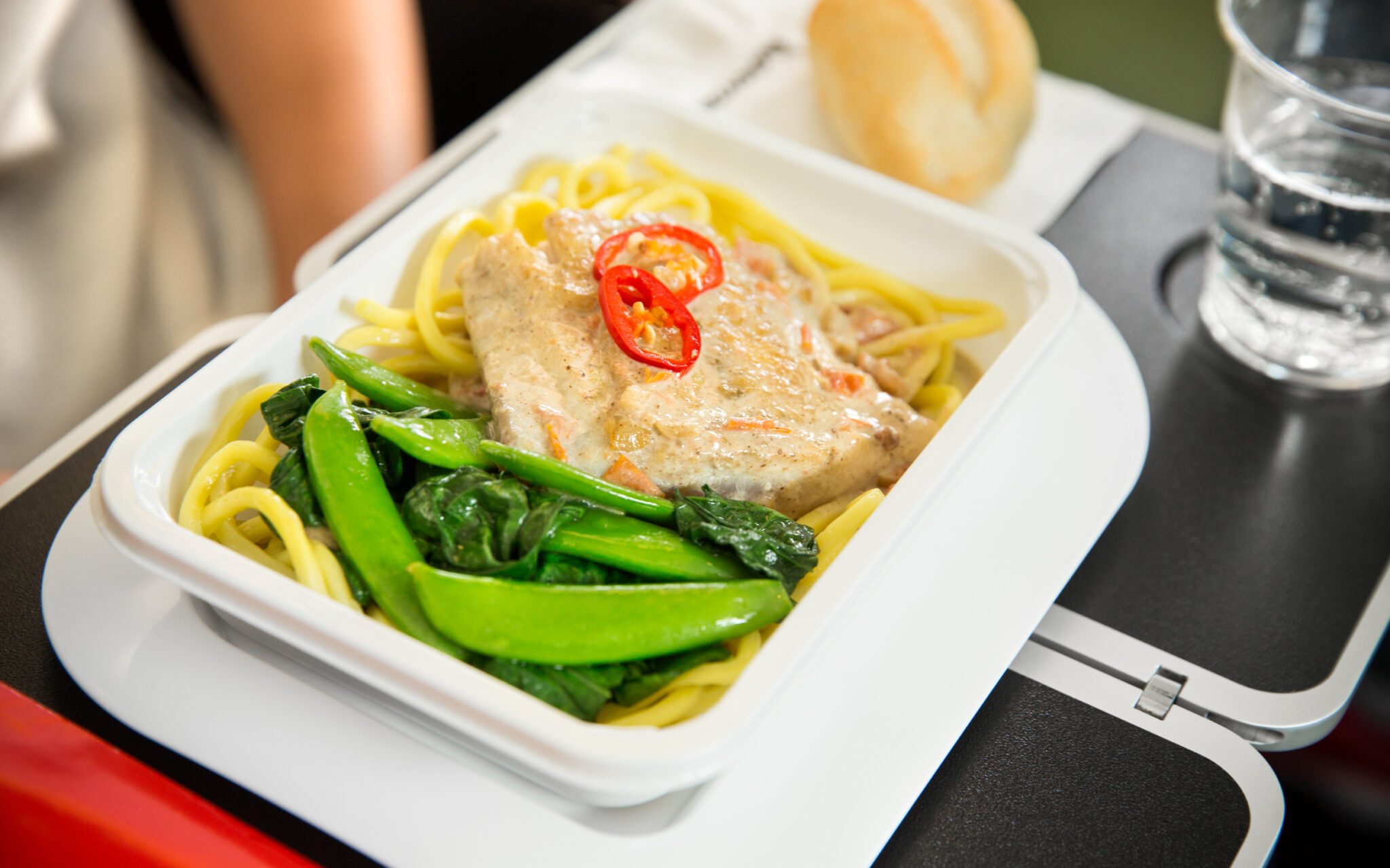 Qantas meal being served in flight.