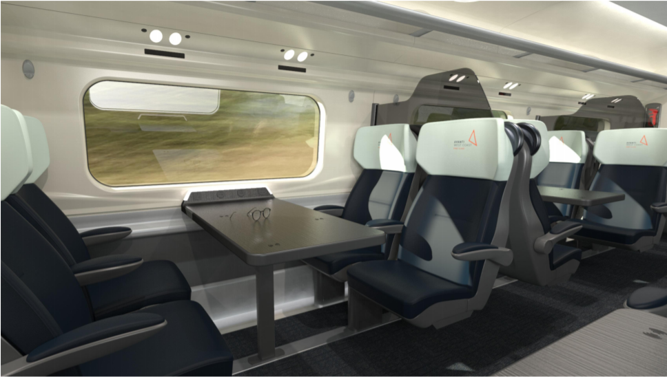 The 1-2 premium seats are separated by a high divider. Image: Avanti West Coast