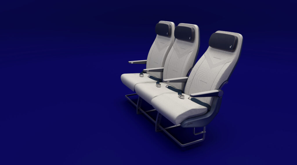 Elemento Economy class seat triple by Geven rendered on a blue background.