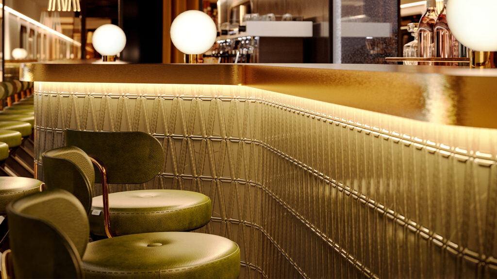 Bar concept for the Midnight Trains. Soft lighting on a long bar with green barstools.