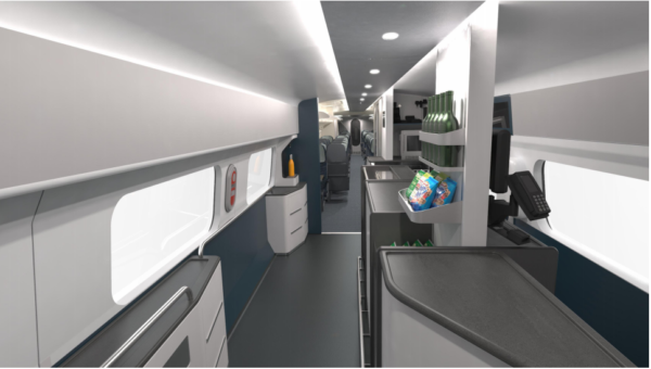 The café space sits between the standard and premium seats. Image - Avanti West Coast