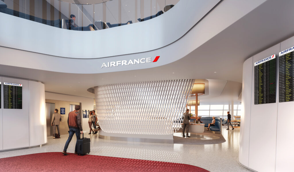 Entryway of the Air France lounge in Paris with lots of light flooding through a ribbon motif