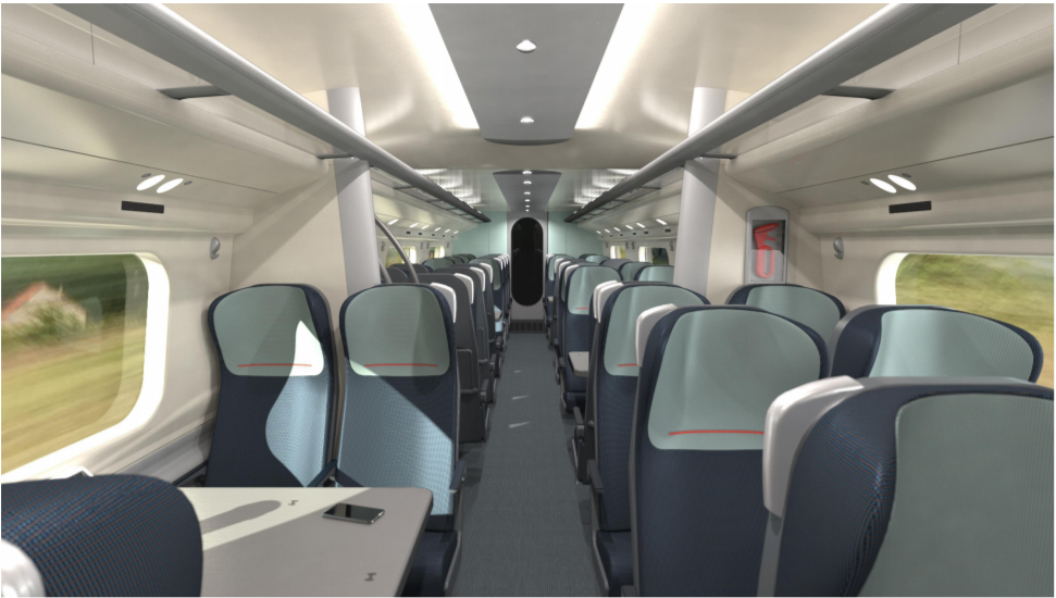 Avanti West Coast rail car with seats in a 2-2 layout facing each other in sets of four.