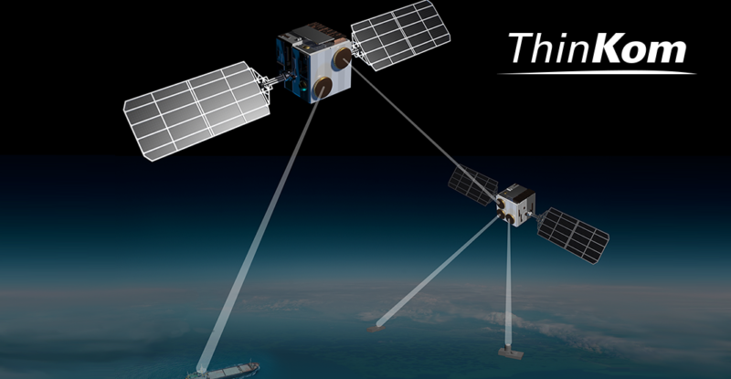 Rendering of ThinKom's new space payload antenna with ThinKom logo.