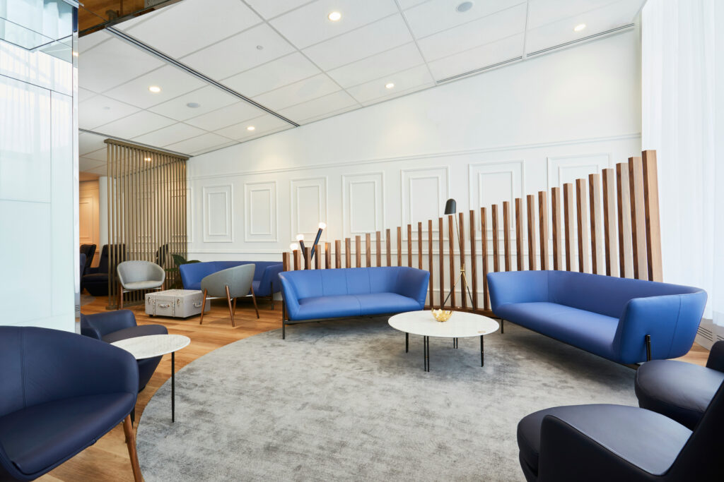 Air France lounge in Montreal Airport (YUL) showing multiple types of seating in a variety of blues.