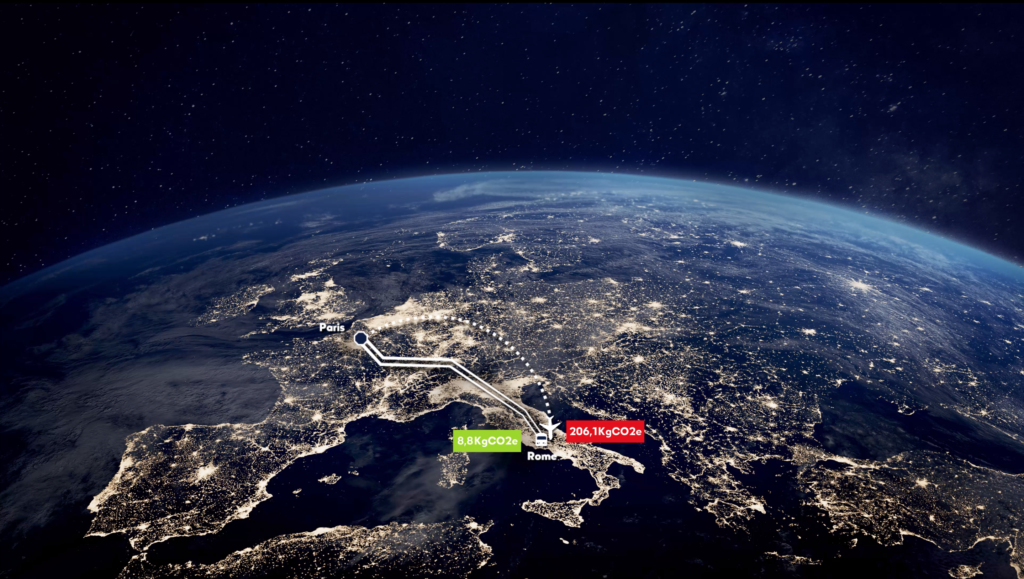 View of the earth from satellite, with lines representing the train versus a plane, and the lower emissions of the former