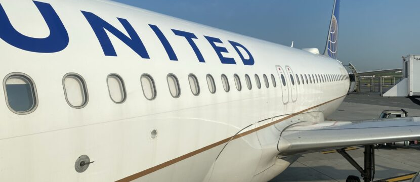United Airlines A320 aircraft parked at the gate.