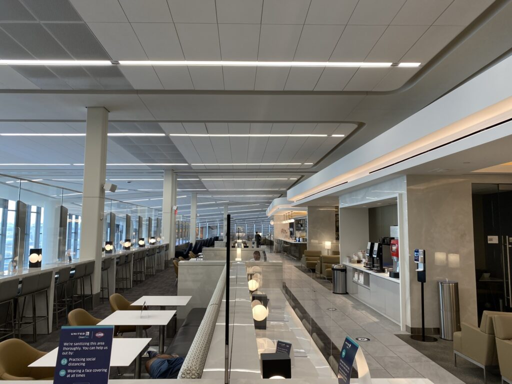 LaGuardia Terminal B's United Club empty of passengers at the time.