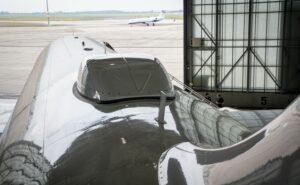 Up-close photo of an aircraft radome