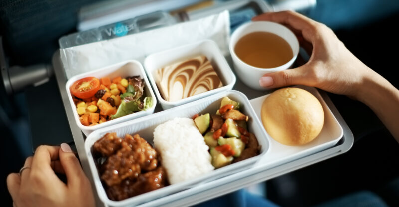 Economy food tray showing various options.