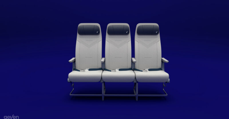 Elemento Economy class seat by Geven rendered on a blue background.