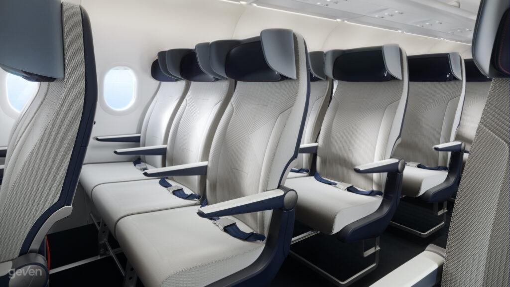 Presentazione del posto Elemento Economy Class di Geven su un aereo