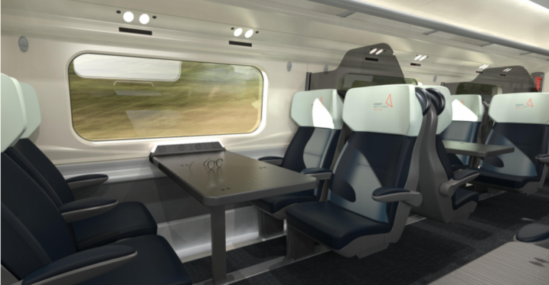 Rendering of seating for UK Avanti West's Pendolino high-speed rail. This image shows four seats 2-2 facing each other with a table in the middle, and a large window. A divider is seen behind the seats, high up