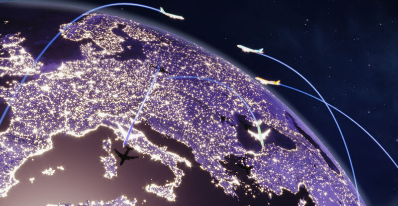 Aircraft flying and flight paths over Europe on an earth globe view from space at night. All the world map textures are originally from NASA
