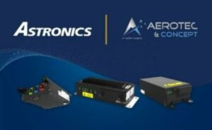 Astronics and Aerotec Concept logos above a few different pieces of hardware on a blue backdrop.