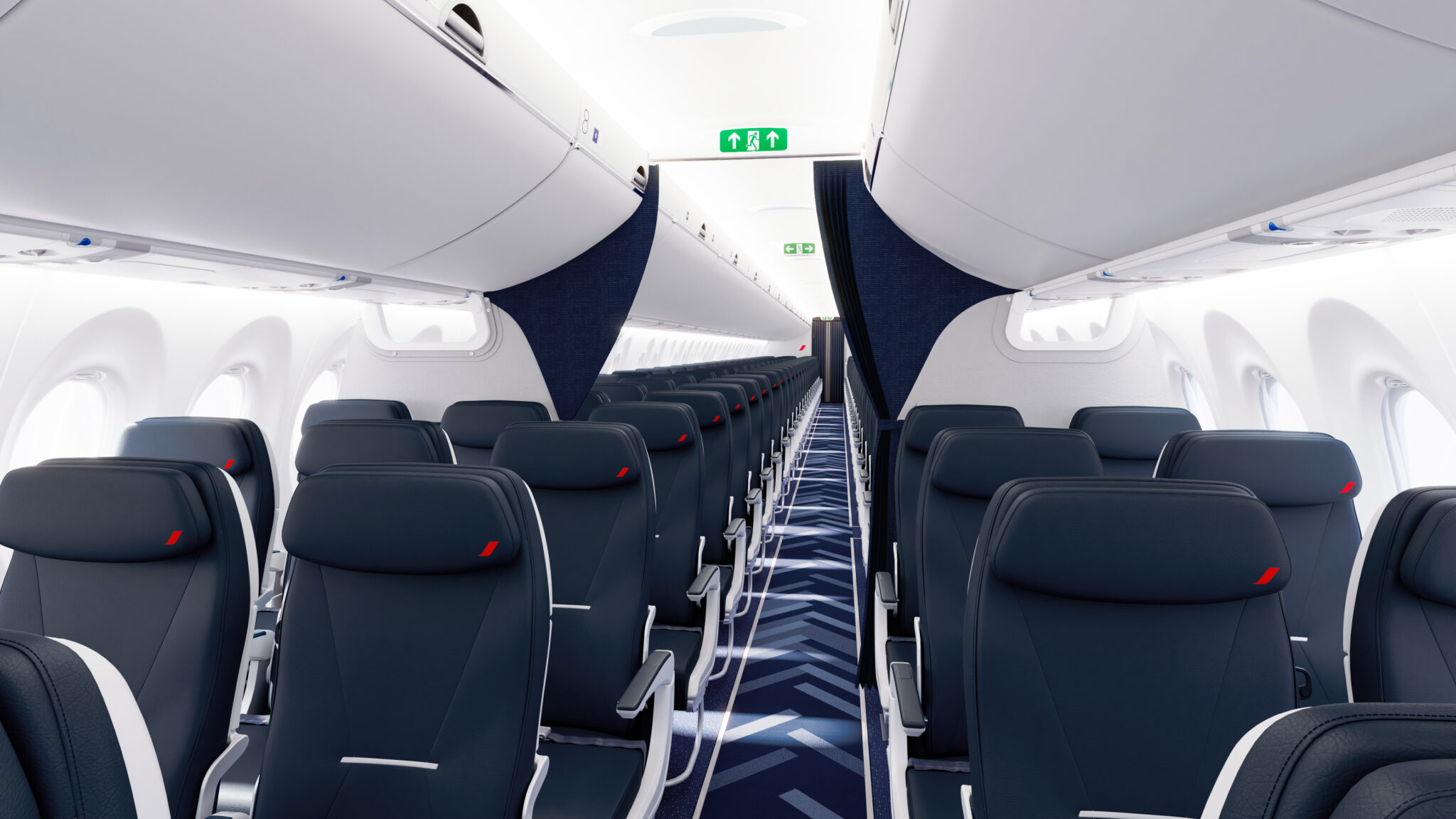 A220-300 Air France cabin, dark grey seats with red accent in 3-2 config