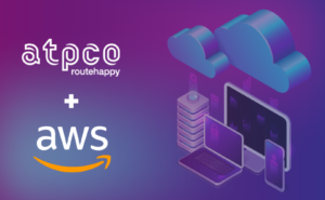 ATPCO and AWS logos on a purple backdrop. A computer with clouds above it site next to them.