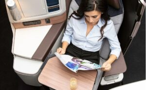 Adient Ascent business-class seat with Satterfield table.