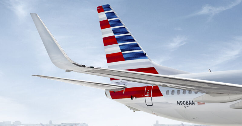 American Airlines aircraft exterior of the Boeing 737 right tail.