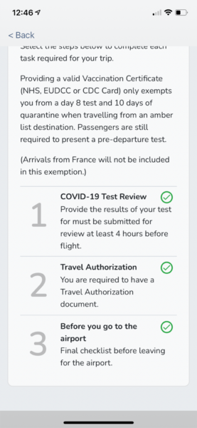 VeriFLY App screen shot showing a checklist of what needs to be done.