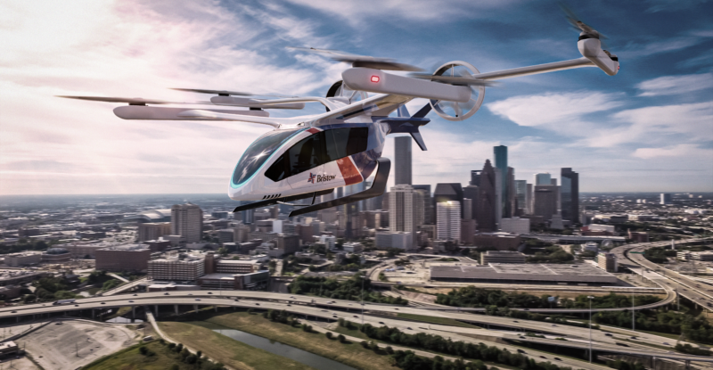 A rendering of Eve's electric vertical takeoff and landing (eVTOL) aircraft over a city.