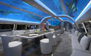 Explorer design concept for the A330 cabin. ceiling panels give the look of the plane being underwater.