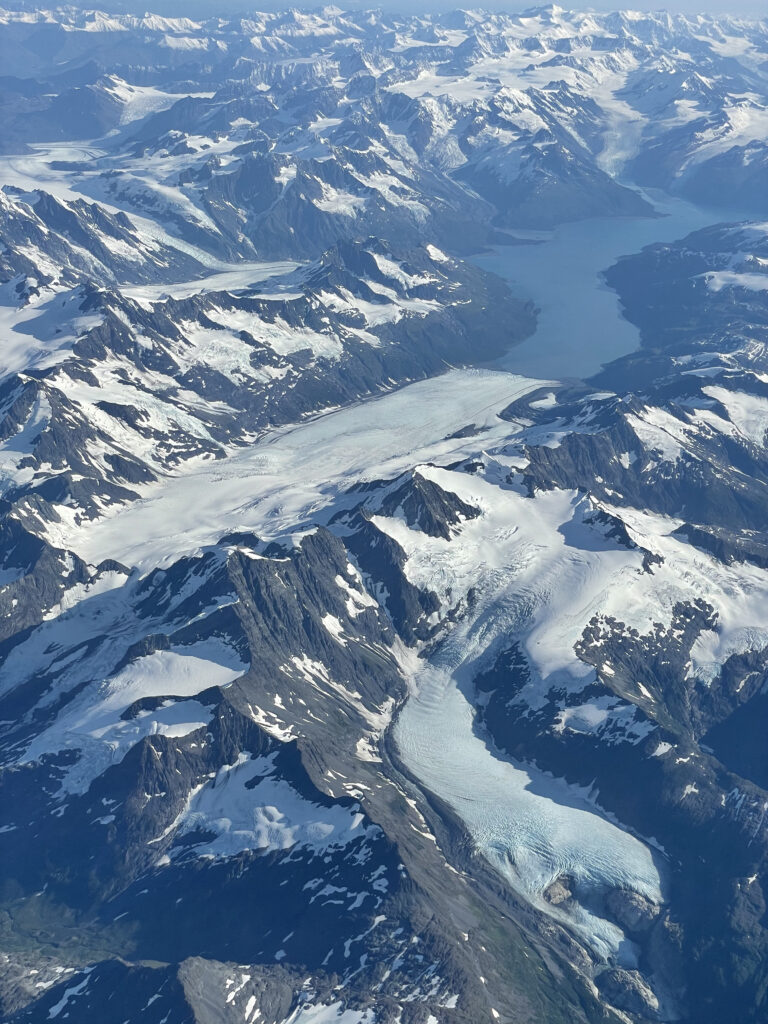 beautifully sunny Anchorage after a gorgeous approach over the Chugach Mountains