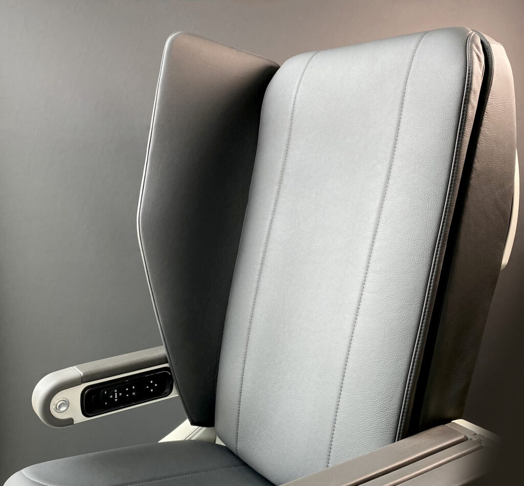Close up image of the Interspace seat by Safran