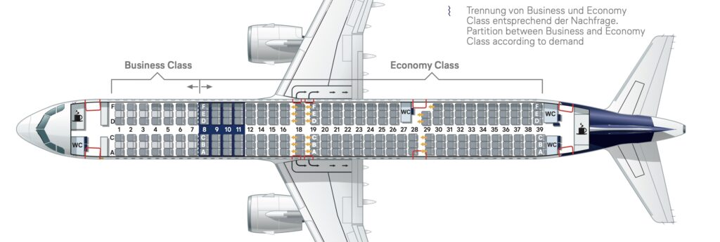 Aircraft seating map of Lufthansa A321neo.