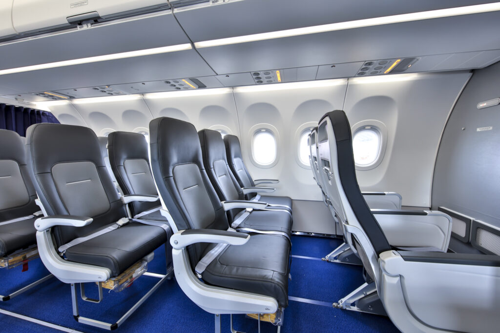 Side view of the economy class seat on Lufthansa's A321neo