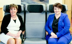IPC Mouldings and Bradfor Ltd are joining the world's leading aerospace companies at this year's Aircraft Interiors Expo (AIX) Virtual, which is taking place from 14th to 16th September. Pictured are IPC Managing Director, Joanne Liddle (right) and Bradfor Ltd Managing Director, Patricia Clements (left).